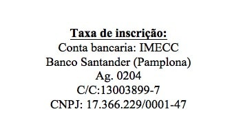 taxa de inscricao